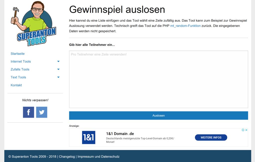 Supertool Anton - eine Facebook Gewinnspiel App